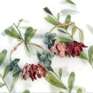 Multi-color Flowery Cloth Hoop Metal Earrings